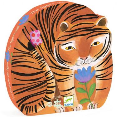 La balade du tigre, puzzle silhouette 24 pcs DJECO 7201