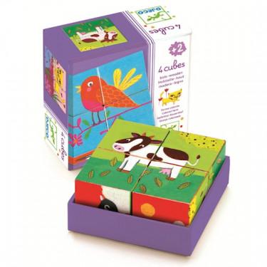 4 cubes Ferme colorée, DJECO 1900