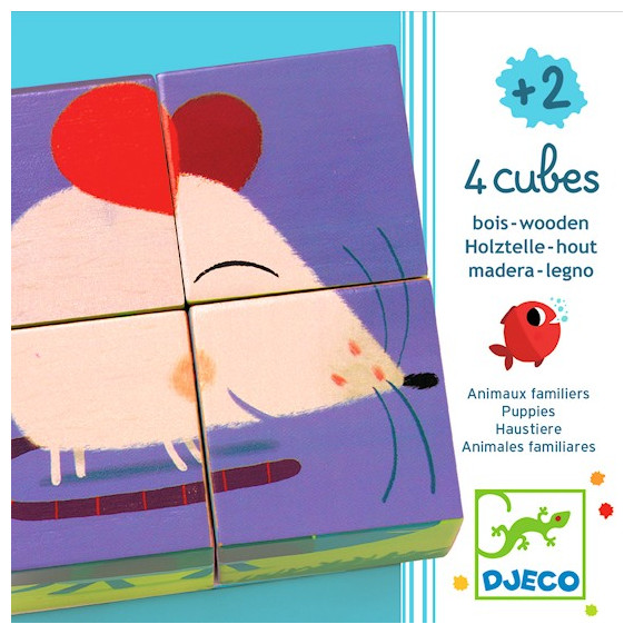 4 cubes Animaux familiers, DJECO 1901