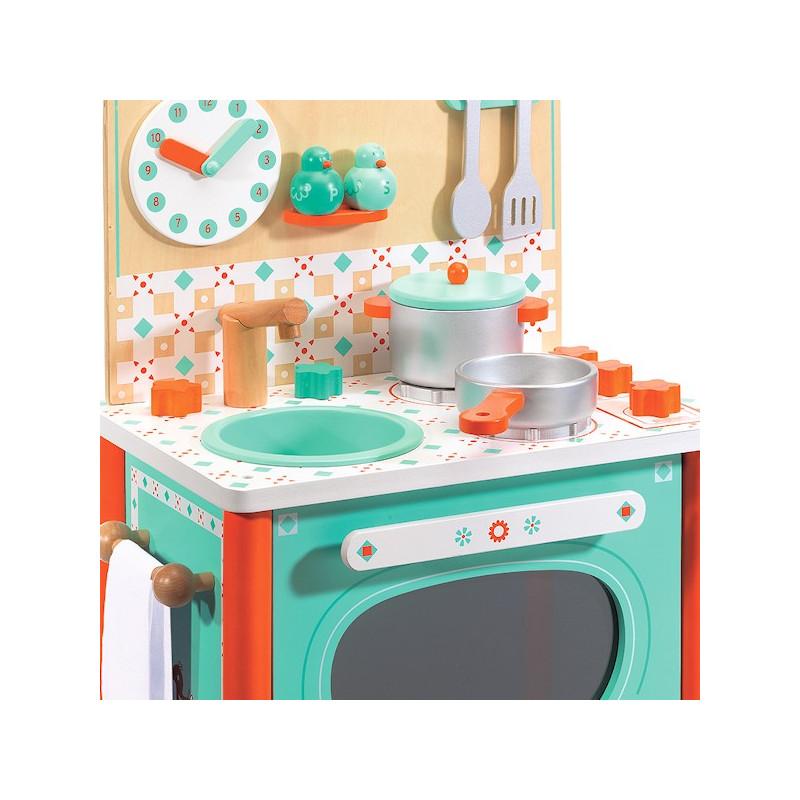 la cuisini re de l o djeco 6626 jouet djeco cuisine en bois. Black Bedroom Furniture Sets. Home Design Ideas