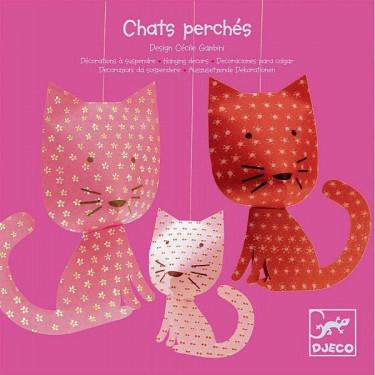 Chats perchés, décorations à suspendre DJECO 4955