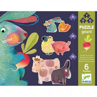 Puzzle géant 'Pissenlit & ses amis' 9, 12 et 15 pcs DJECO 7145