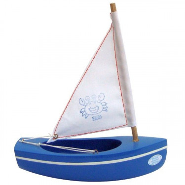 Petit voilier bleu TIROT en bois 17 cm, modèle 200