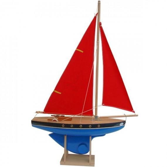 Voilier Tirot 502 coque bleue voile rouge 40cm