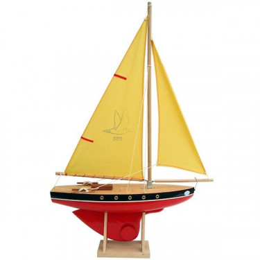 Voilier Tirot 502 coque rouge voile jaune 40cm