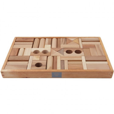 Cubes en bois naturel Wooden Story - 54pcs