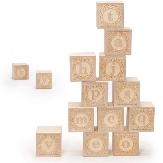 """Cubes alphabet minuscule """"bois naturel"""" Uncle Goose"""
