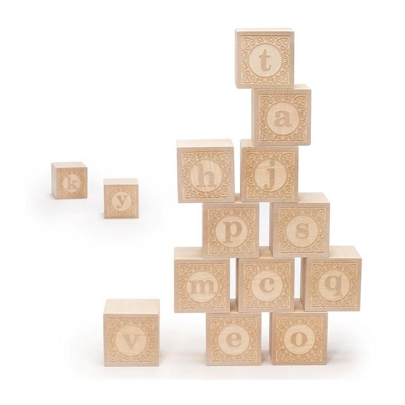 Cubes alphabet minuscule bois naturel uncle goose - Jouet alphabet ...