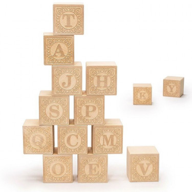 "Cubes alphabet majuscule ""bois naturel"" Uncle Goose"