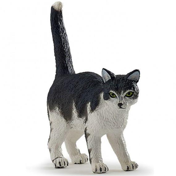 Chat noir et blanc, figurine PAPO 54041