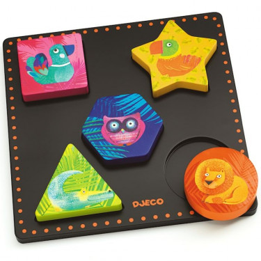 Puzzle Geochic, jeu d'encastrement en bois DJECO 1050