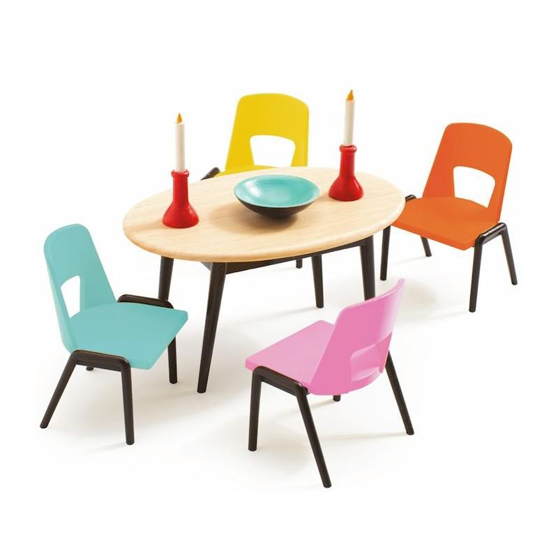 pack mobilier pour maison de poup es djeco. Black Bedroom Furniture Sets. Home Design Ideas