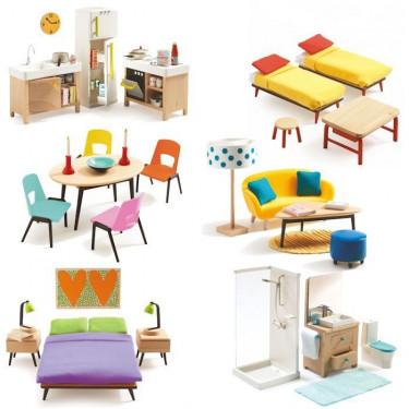 Pack mobilier pour maison de poupées Djeco