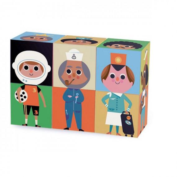 6 cubes rigolos en bois Ingela P. Arrhenius VILAC 7706
