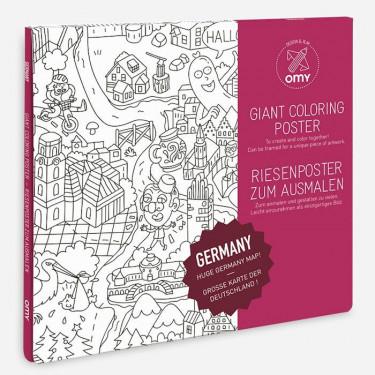 Poster carte d'Allemagne à colorier, Omy