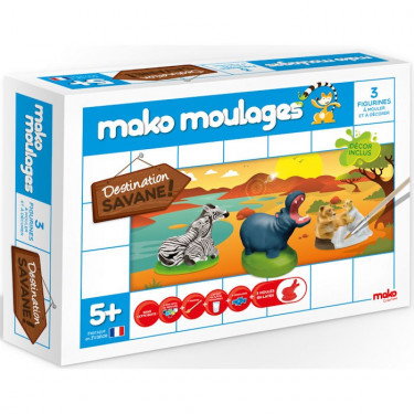 Mako Moulages Animaux de la savane, coffret 3 moules 39001