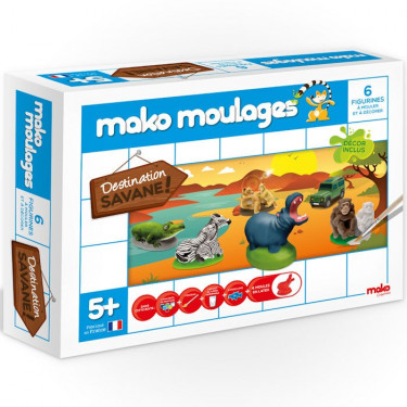Mako Moulages Animaux de la savane, coffret 6 moules 39010