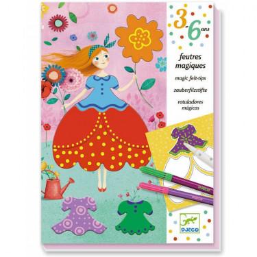 """Coffret Feutres magiques """"Les jolies robes de Marie"""" DJECO 9886"""