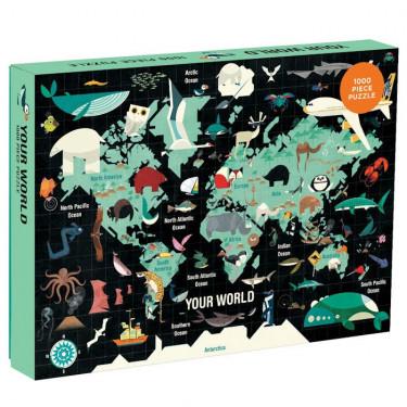 Puzzle 1000 pcs 'Le Monde' Mudpuppy