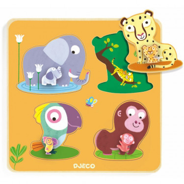 Puzzle Mamijungle, jeu d'encastrement en bois DJECO 1054