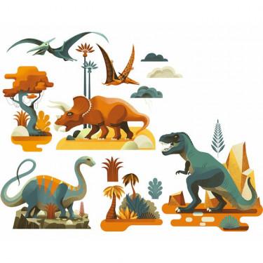Stickers de fenêtre repositionnables 'Dinosaures' DJECO 5050