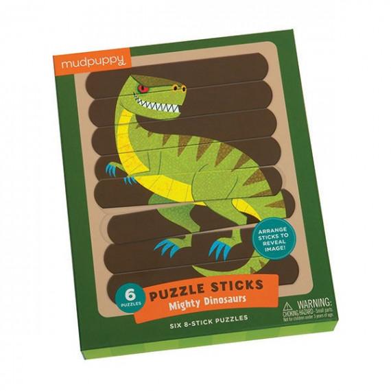 6 puzzles sticks de 8 pièces 'Les dinosaures' Mudpuppy