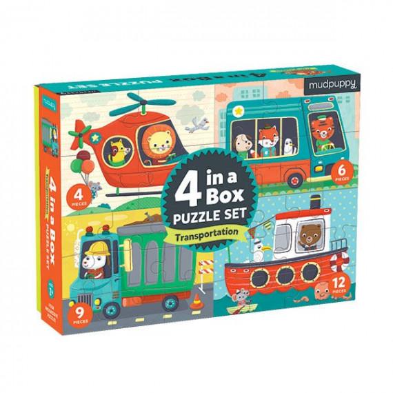 4 puzzles pour enfant 'Transports' Mudpuppy