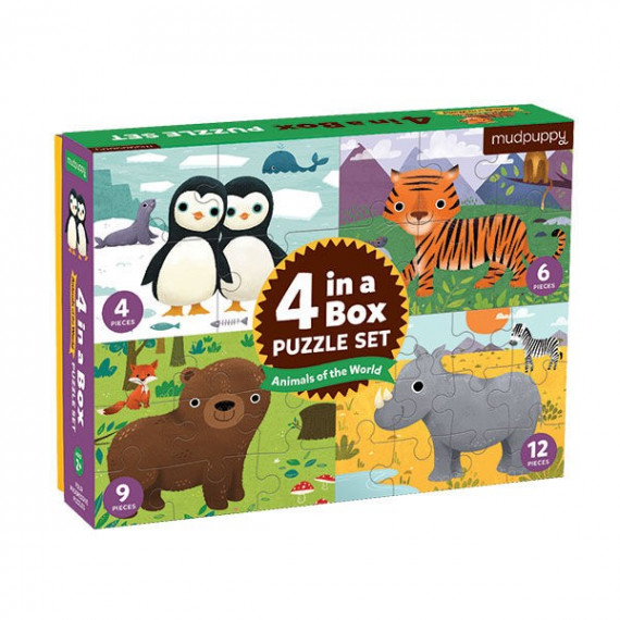 4 puzzles pour enfant 'Animaux du monde' Mudpuppy
