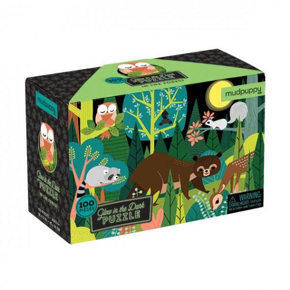 Puzzle qui Brille dans le Noir 'Dans la forêt' 100 pcs Mudpuppy