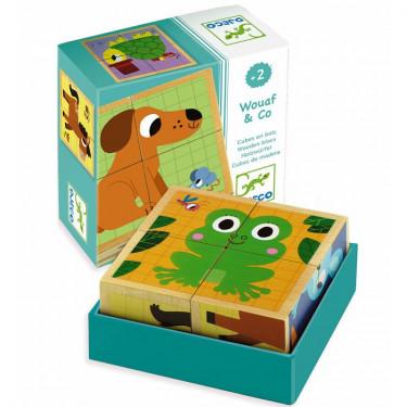 4 cubes puzzles bois Wouaf & Co, DJECO 1903