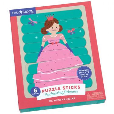 6 puzzles sticks de 8 pièces 'Un monde de princesses' Mudpuppy