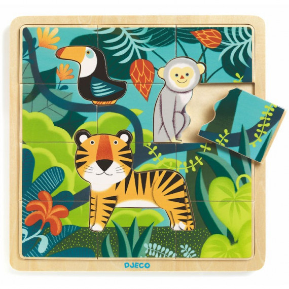 Puzzle en bois 'Puzzlo Jungle' 15 pcs DJECO 1810