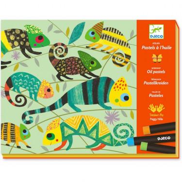 Coffret Atelier Pastels à l'huile 'Jungle colorée' DJECO 8618