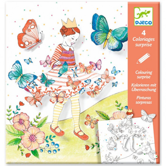 Coloriages surprise 39 lady butterfly 39 djeco 9629 jouets - Djeco coloriage ...