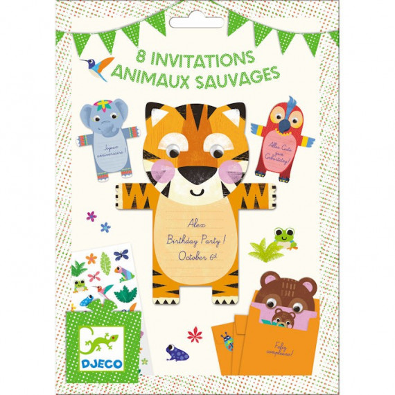Cartes d'invitation Animaux sauvages DJECO 4781
