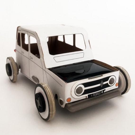 Autogami Renault 4L blanche, voiture solaire