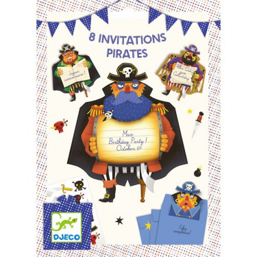 Cartes d'invitation Pirates DJECO 4784