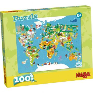 Puzzle Carte du monde 100 pcs HABA 302003