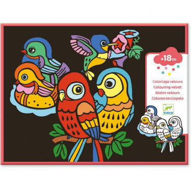 """Coloriage velours """"Bébés oiseaux"""" DJECO 9099"""