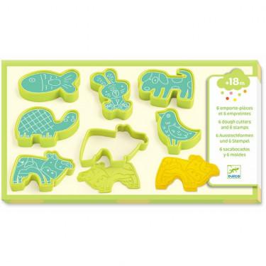 6 emporte-pièces et 6 empreintes 'animaux domestiques' pour pâte à modeler DJECO 9023
