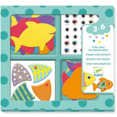 Créer avec des gommettes 'J'aime les poissons' DJECO 9052