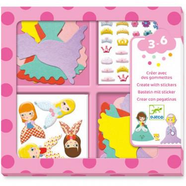 Créer avec des gommettes 'J'aime les princesses' DJECO 9053