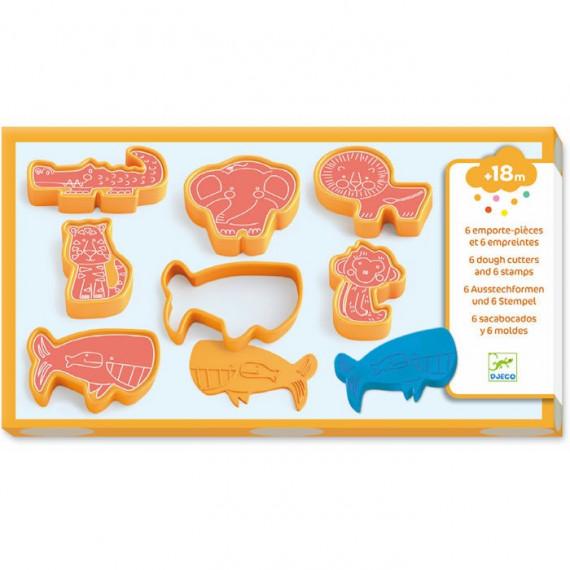 6 emporte-pièces et 6 empreintes 'animaux sauvages' pour pâte à modeler DJECO 9024