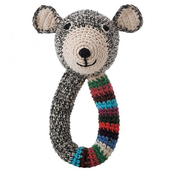 """Hochet nounours en crochet """"Teddy"""" gris et rayé anne-claire petit"""