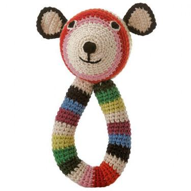 """Hochet nounours en crochet """"Teddy"""" rayé multicolore anne-claire petit"""