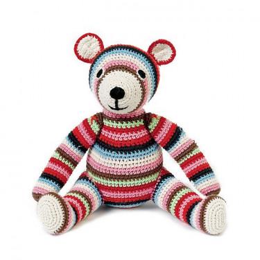 """Ours en peluche """"Teddy"""" rayé multicolore en crochet anne-claire petit"""
