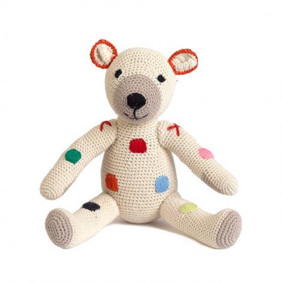 """Ours en peluche """"Teddy"""" à pois en crochet anne-claire petit"""