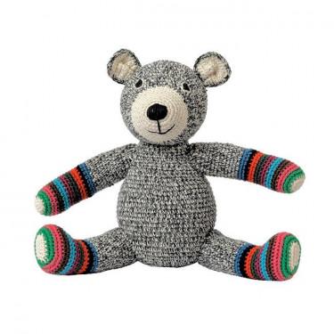 """Ours en peluche """"Teddy"""" gris et rayé en crochet anne-claire petit"""
