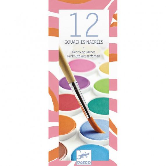 12 gouaches couleurs nacrées DJECO 9739