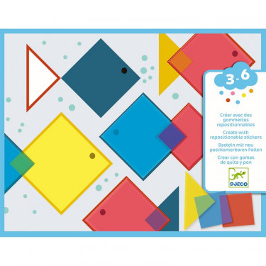 Créer avec des gommettes repositionnables 'Carrés magiques' DJECO 8975